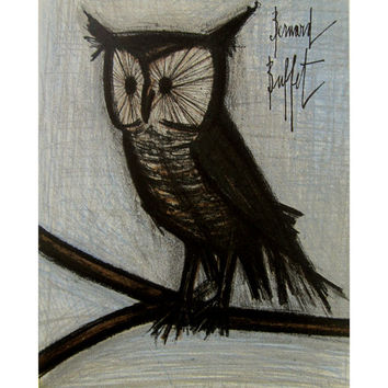 Bernard Buffet Midcentury Lithographic Print Small Owl or The Little Owl