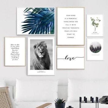 Lion Green Leafs Quotes Forest Landscape Wall Art Canvas Painting Nordic Posters And Prints Wall Pictures For Living Room Decor