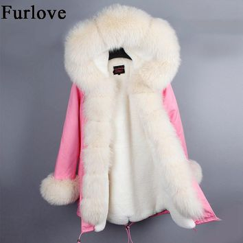 Womens Winter Jackets Women Fur Parka Coat Real Fox Fur Collar Hooded Coats Ladies Casual Military Jacket Warm Thick Long Parkas