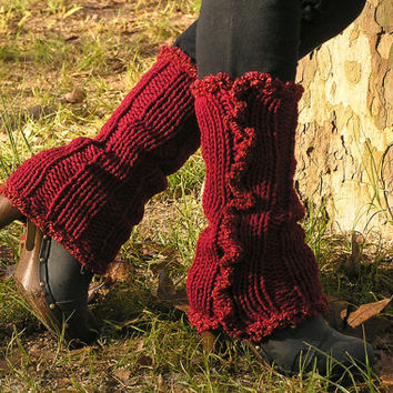 Knit LEG WARMERS Red FREE Shipping World Wide by NATgirona
