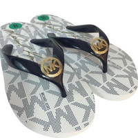 Michael Kors Jet Set Rubber Flip-Flop MK Signature Navy/White size 8