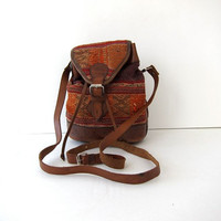 Vintage Ethnic Woven Small Bucket Bag / Tribal Purse
