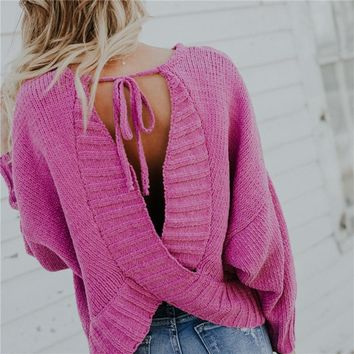 Open Back Lace Up Wrapped Women Pullover Sweater