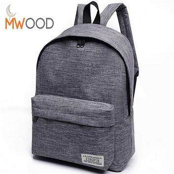 Fashion Simple Canvas Backpack Male High Quality School Laptop Backpack Female Travel Bagpack