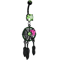 Peridot Green Gem Black Spider Web Dreamcatcher Belly Ring | Body Candy Body Jewelry