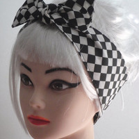 Rockabilly Pinup HAIR BOW Headband Black White Checkered Diamond Print Vintage Retro Style Rockabilly Pinup
