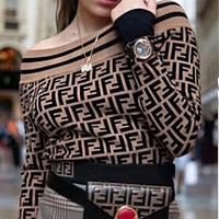 FENDI 2018 New Fashion Women Sexy Off Shoulder Round Collar Double F Letter Print Long Sleeve Knit Sweater Pullover Top Coffee I12820-1