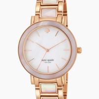 "kate spade new york Women's 1YRU0396 ""Gramercy"" Rose Gold and Mother-of-Pearl Bracelet Watch"