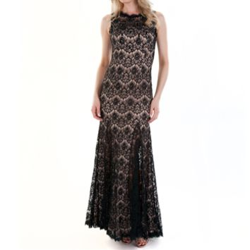 Betsy & Adam Sleeveless Lace Mermaid Gown with Gem Embellishments at Von Maur