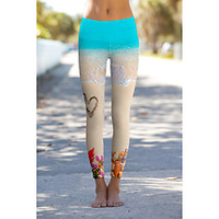 Yoga Journal Store: Om Shanti Power Pants - Hearts in the Sand - Printed Performance Leggings