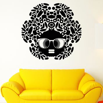 Vinyl Wall Decal Cartoon Black Woman African Girl Hairstyle Sunglasses Stickers Unique Gift (1624ig)