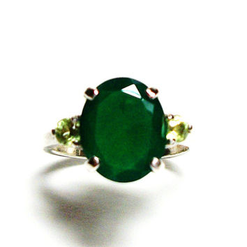 """Chalcedony, chalcedony ring, chalcedony accent ring, green 3 stone ring, anniversary ring, s 5 1/2  """"Chop Sticks"""""""