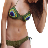Peacock Green Exotic Crochet Bikini Swimsuit