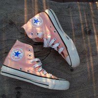 Vintage Converse All Star Chucks Peach/Coral Rare Color Skate Shoe Sneakers 70s or 80s Old School