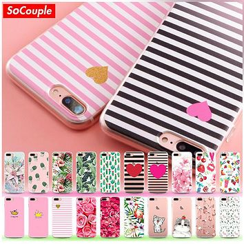 Super Flexible TPU Case For iphone 7 7plus 6 6s 6plusSlim Fruit Flower Plants Cactus Stripe Pattern Silicone Phone Case