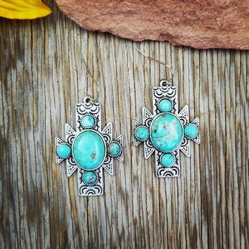 Natural Stone Turquoise Aztec Earrings