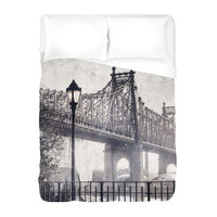 Black White City Duvet Cover