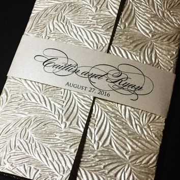Embossed Wedding Invitation, Classic Wedding Invitation, Handmade Paper Wedding Invitation - PALM VERSION