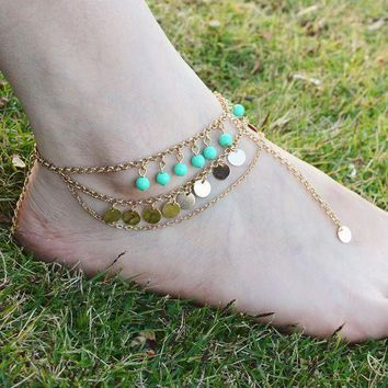 CREYXF7 Full handmade multi-layer beads sequined tassel anklets