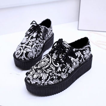 Creepers Platform Shoes Woman Flats Shoes Female Creepers Shoes Black Plus Size 40 41