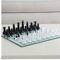 Glass Chess Set Black and White Mirror Board Pieces Game New Chessboard King