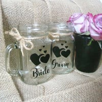 Mason Jar Wedding Glasses, Bride Groom Glasses, Wedding Toast, Rustic Wedding, Mason Jar, Wedding Cups, Wedding Mugs, Rustic Mason Jar