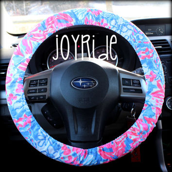 Steering Wheel Cover Lilly Pulitzer Pop Pop Fabric Fully lined with Grip Tight Designer Car Accessories Coral For Girls Woman