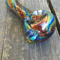 Dichro sunset glass spoon pipe with encased opal