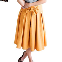 Orange Bowknot Pleated Midi Skirt