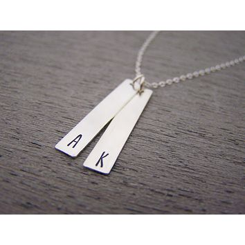 Two Bar Initial Vertical Hand Stamped Personalized Necklace