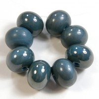 Opaque Dark Turquoise Blue Handmade Lampwork Glass Beads 236 Shiny (Choices of Etched, .999 Fine Silver, Shapes, Sizes, Large Hole Beads Extra)