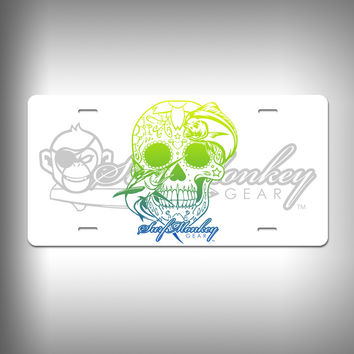 Swordfish Sugar Skull Custom License Plate / Vanity Plate with Custom Text and Graphics Aluminum