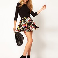 ASOS Skater Skirt in Sweet Pea Print at asos.com