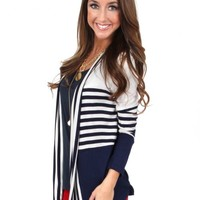 Rising Tide Navy Striped Colorblock Cardigan | Monday Dress Boutique