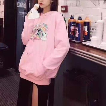 """Gucci"" Woman Leisure Fashion Letter Cartoon Printing Loose Hooded Long Sleeve Tops Skirt"