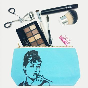 Audrey Hepburn Tiffany Blue Pop Zipper Pouch and Makeup Bag – Illustrated and Handmade in the USA