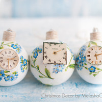 Christmas Ornaments - Christmas Decorations - Christmas Tree Balls - Holiday Decorations - Christmas Crafts - Blue White - Set of 3
