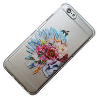 Anemones and Skull Floral Headdress iPhone Case, Phone Case, iPhone 6, iPhone 5, iPhone SE, iPhone 5, iPhone 6 Plus, Phone 7 Plus, Galaxy s7