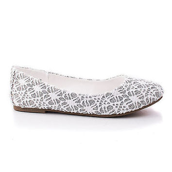 ScolyIIS White Lace By Happy Soda, Children / Girl Lace Glitter Ballet Slip On Dress Flats