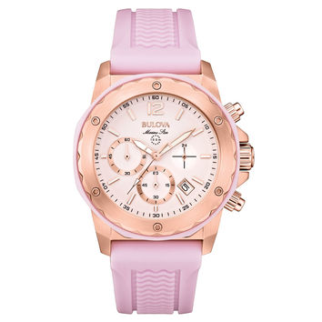 Bulova 98M118 Women's Marine Star Pink Dial Pink Rubber Strap Chronograph Watch