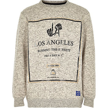 River Island Boys grey running the streets sweatshirts