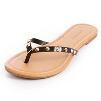 Linda Sandal from City Classified Brand Studded Spiked Patent Faux Leather Flip Flop Thong Sandals  Womens Shoes - High Heels - Flats - Womens Boots - Womens Sandals - Wedges from For Elyse