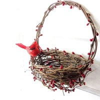 Rustic GrapeVine Basket Wreath . Wall pocket Wreath. Autumn. Holiday. Red Pip Berries.