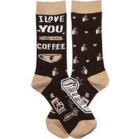I Love You More Than Coffee But Not Always Before Coffee Socks in Latté