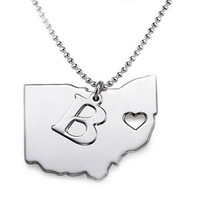 Sterling Silver State & Initial Necklace