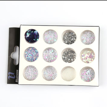12 Mixed Design Colorful Sequin Glitter For Nail Light Therapy 3D Nail Art Decorations ZP247 Polishing for nails holographic