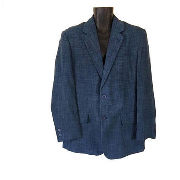 Vintage 80s Sport Coat 80s Sports Jacket Blue Blazer Men 80s Blazer Men Suit Jacket Men Sportcoat 1980s Clothing Men Retro Clothing