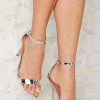 Nasty Gal Take a Hint Stiletto Heel - Silver