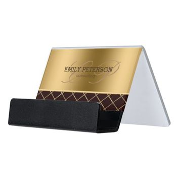 Modern Gold And Brown Geometric Design Desk Business Card Holder