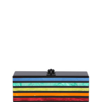 Edie Parker Flavia Striped Acrylic Clutch Bag, Obsidian /Rainbow